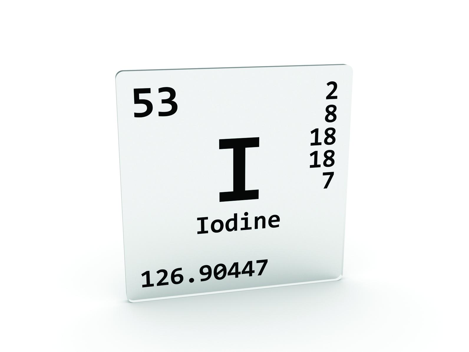 Iodine symbol - I - element of the periodic table